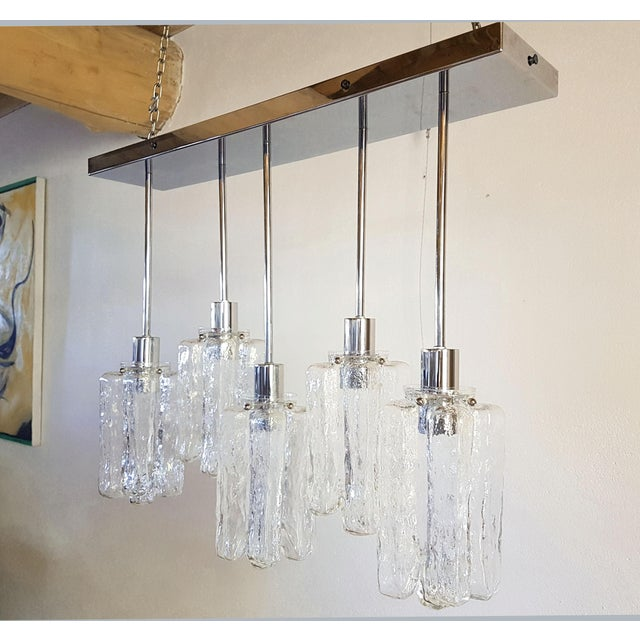 Contemporary d'Lightus Chrome & Murano Glass Bespoke Chandelier For Sale - Image 10 of 11