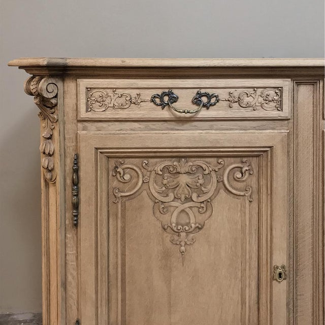 19th Century Country French Regence Stripped Oak Buffet For Sale - Image 9 of 13