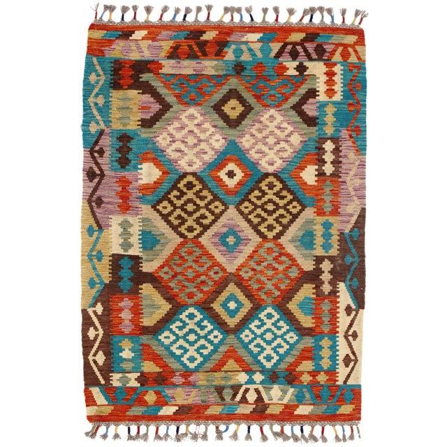 Afghan Kilim Handspun Wool Rug - 3′5″ × 4′10″ For Sale