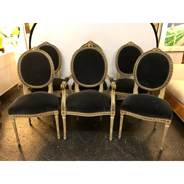 Set of Six French Antique Cream and Giltwood Dining Chairs Velvet Gray Fabric For Sale - Image 13 of 13