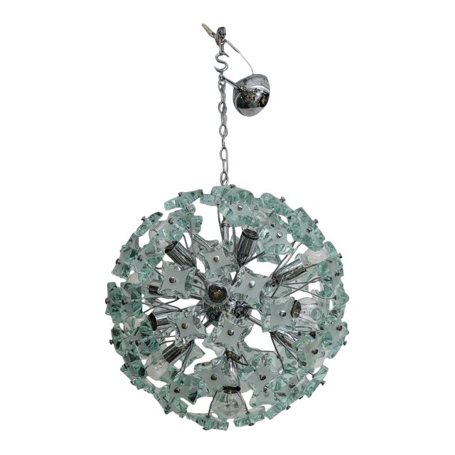 1960's Italian Green Glass Sputnik Chandelier For Sale