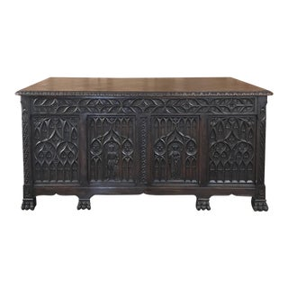 Antique French Gothic Parquet Top Desk For Sale