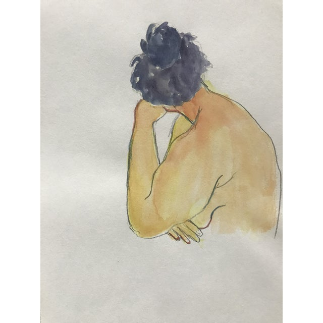 This is a vintage watercolor painting from the Estate of the artist Myra Kyle. The piece depicts a female nude turning...