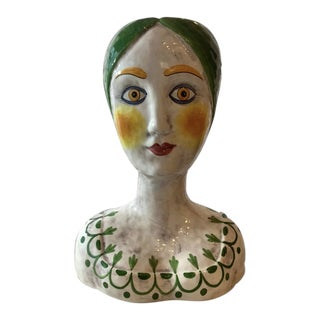 Vintage Mid-Century Horchow Italy Bust Vase / Planter For Sale