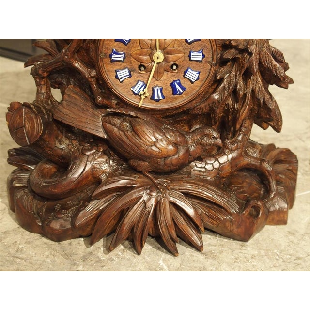 Late 19th Century Antique Carved Black Forest Mantel Clock, Circa 1885 For Sale - Image 5 of 13