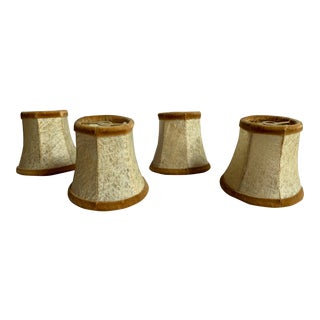 Vellum Candlestick Shades Trimmed With Silk Velvet - Set of 4 For Sale