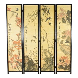 Painted Bamboo Room Divider For Sale