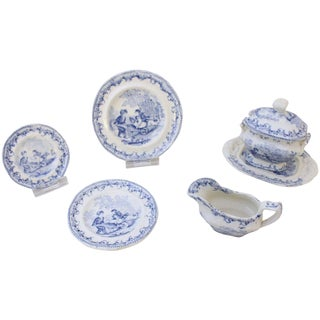 1840 Antique Children's Dinner Service - 5 Pieces For Sale