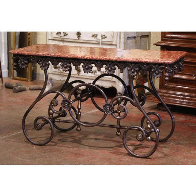 French Polished Iron and Brass Pastry Table With Variegated Red Marble Top For Sale - Image 11 of 11