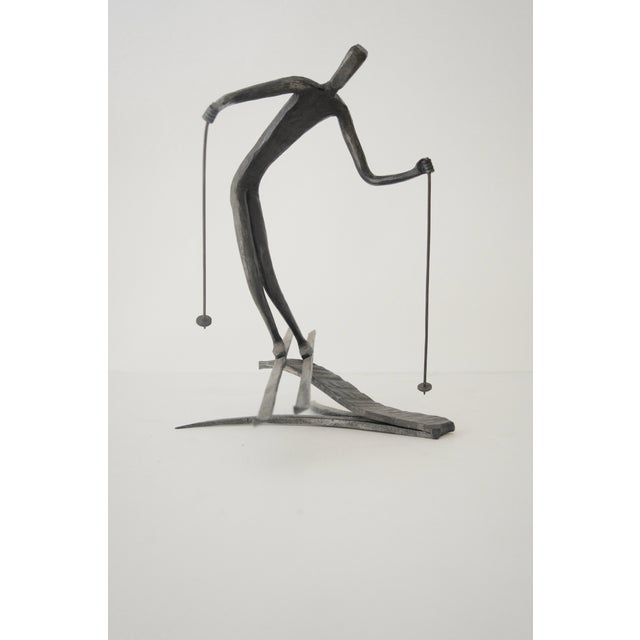 Figurative Bronze Skiing Figures Sculptures Initialed Bb Dated 1967 - a Pair For Sale - Image 3 of 8