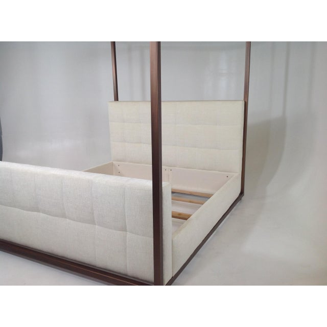 2000 - 2009 Modern Canopy Bed With Copper Finish and Chenille Fabric For Sale - Image 5 of 8