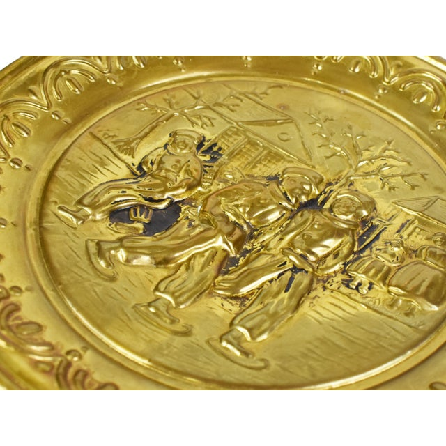Brass Vintage England Scene Embossed Brass Wall Hanging Tray Plate, England - 5 Pieces For Sale - Image 8 of 12