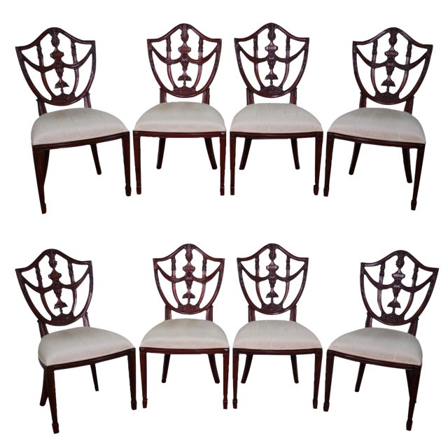 Maitland Smith Solid Mahogany Federal Style Shield Back Dining Chairs - Set of 8 For Sale