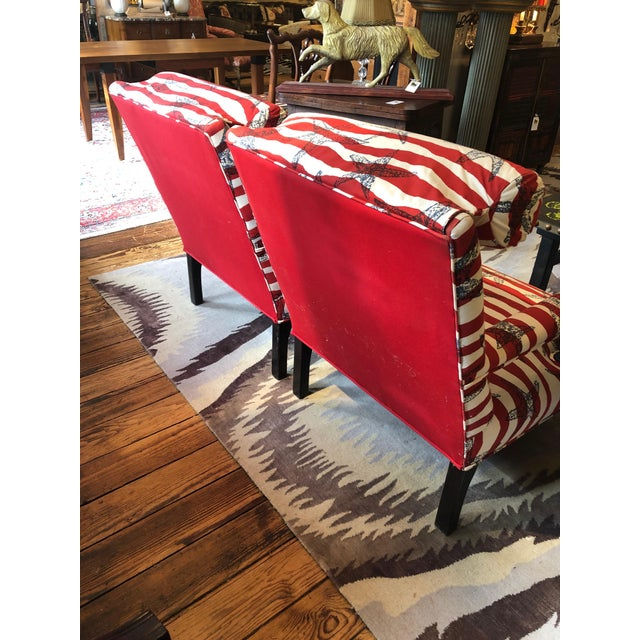 Textile Red White and Blue Upholstered Club Chairs- a Pair For Sale - Image 7 of 13