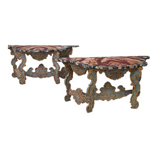 Italian Faux Painted Consoles - a Pair For Sale