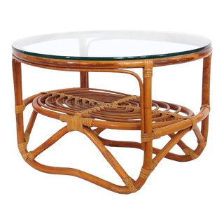 1970s Boho Chic Rattan Side Table For Sale