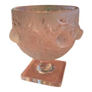 1960s Vintage Lalique Elisabeth Crystal Vase For Sale