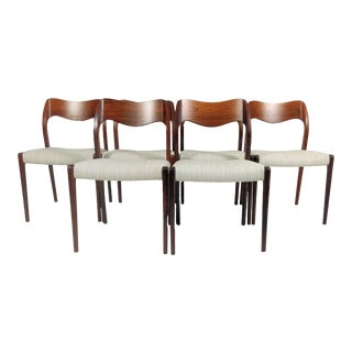 Mid-Century Modern Niels Otto Møller Refinished Rosewood Dining Chairs - Set of 6 For Sale