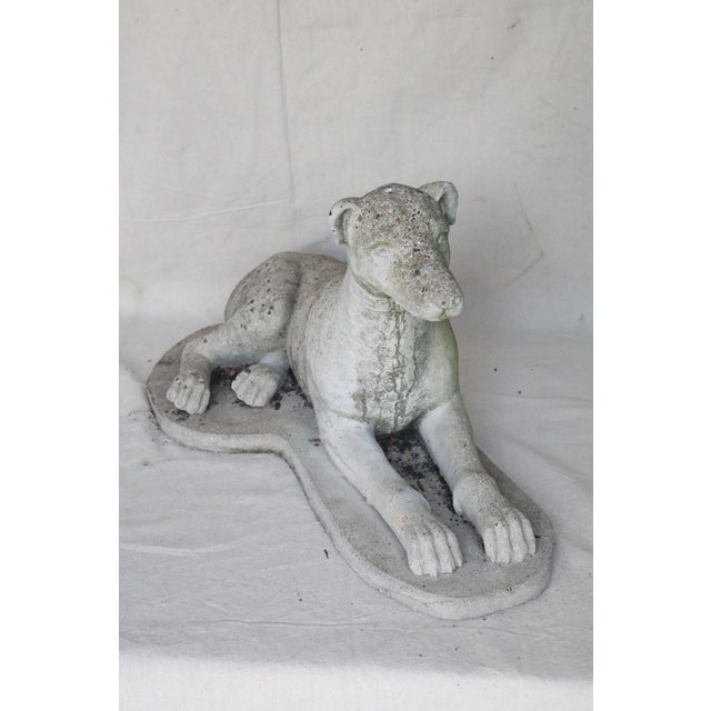 English Early 20th Century Reclining Whippet English Cast Stone Garden Ornament For Sale - Image 3 of 8
