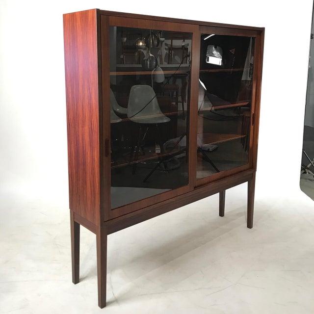 Vintage Danish Rosewood Glass Door Cabinet Chairish