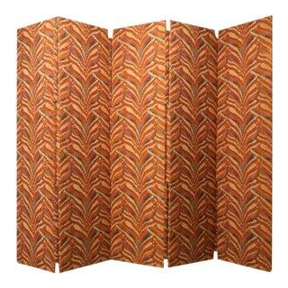 Custom 5 Panel Upholstered Floor Screen For Sale