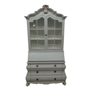 Swedish Rococo Glass Top Secretary Hutch