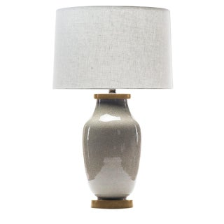 Lawrence & Scott Lagom Porcelain Lamp in Oyster Gray Crackle With White Oak Base For Sale
