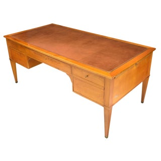 French Louis XVI Style Red Leather-Top Fruitwood Writing Desk For Sale