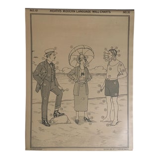 1926 Vintage Heath's Modern Language Wall Chart No. 9 Double-Sided Classroom Poster For Sale