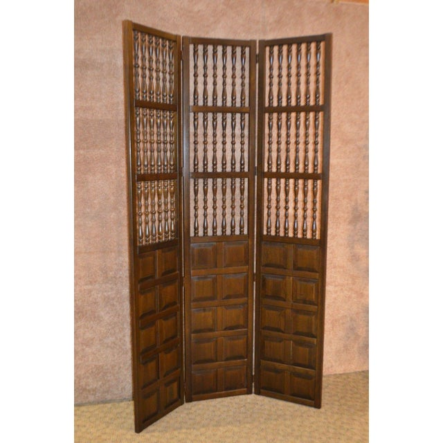 Vintage Jacobean Style Wood Room Divider For Sale - Image 13 of 13