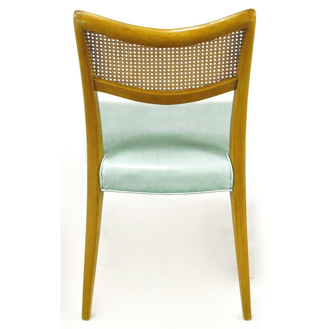 Harvey Probber Tiffany Blue Leather and Mahogany Side Chair - Image 6 of 9