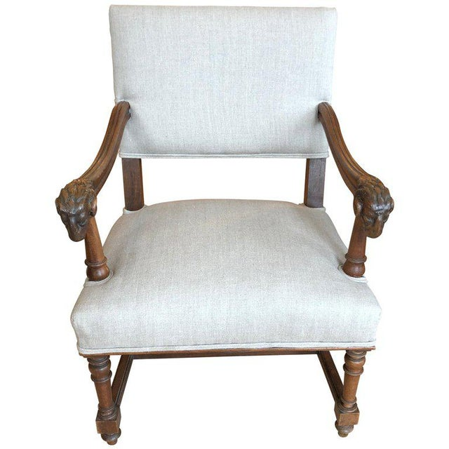 Handsome Carved Walnut and Linen Armchair For Sale - Image 10 of 10