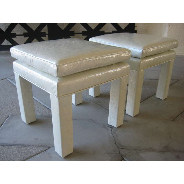 Croc Cream Leather Parson Style Stools - A Pair - Image 6 of 6