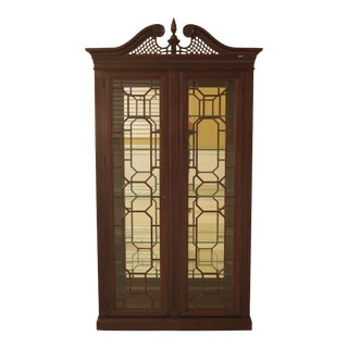 Chippendale Style Cherry Lighted Curio Cabinet For Sale