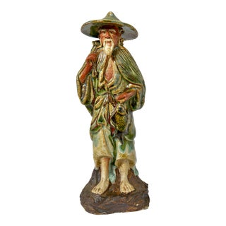 Chinese Ceramic Figurine of Old Fisherman For Sale
