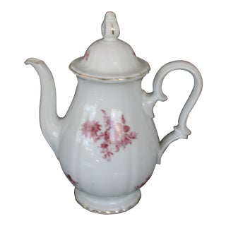 Rosenthal Floral Design China Coffee Pot With Gold Trim For Sale