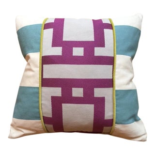 Cotton Blend Pillow with Robin Blue and Orchid Purple Geometric Lines For Sale