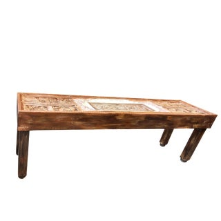 Antique Indian Tribal Carving Haveli Stone Extra Long Wooden Console For Sale