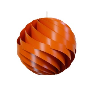 Louis Weisdorf Orange Turbo Pendant Light, New Old Stock