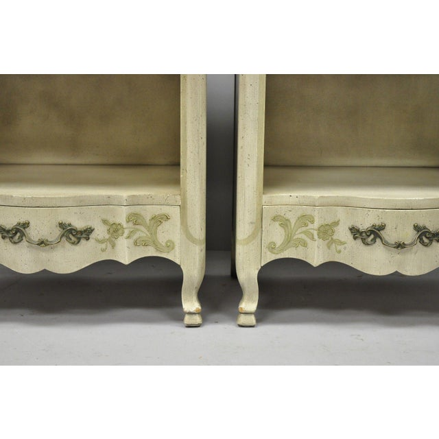 1960s John Widdicomb Country French Provincial Cream Paint Nightstands - a Pair For Sale - Image 5 of 13