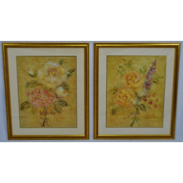 Vintage Framed French Jaune & Blanche Floral Still Life Prints Condition consistent with age and history. Please use zoom...