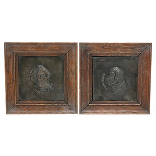 19th Century Country Charles Dickens Copper Plaques - a Pair