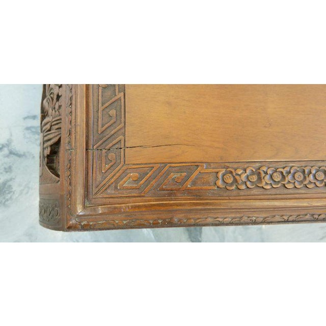 Brown Carved Chinese Coffee Table For Sale - Image 8 of 10