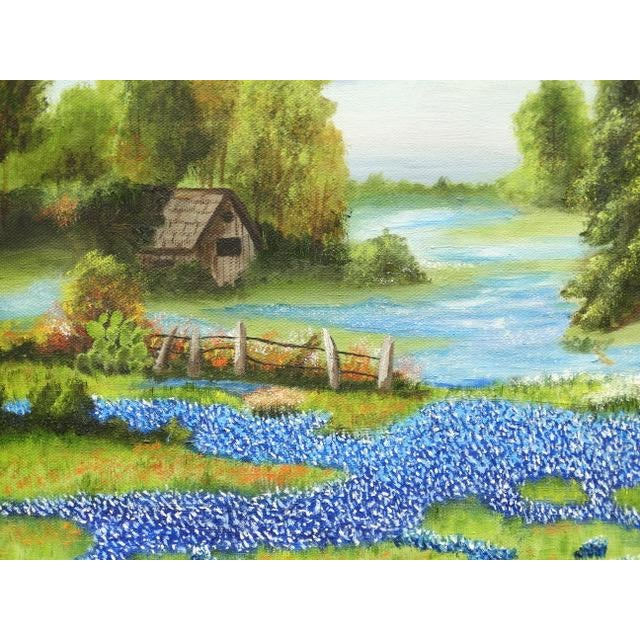 Countryside Bluebonnet Landscape Original Oil Painting For Sale - Image 6 of 13