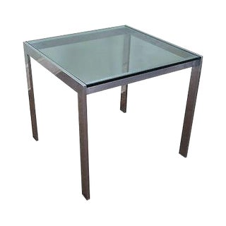 Mid Century Modern Aluminum Square Glass Top Dining Table For Sale