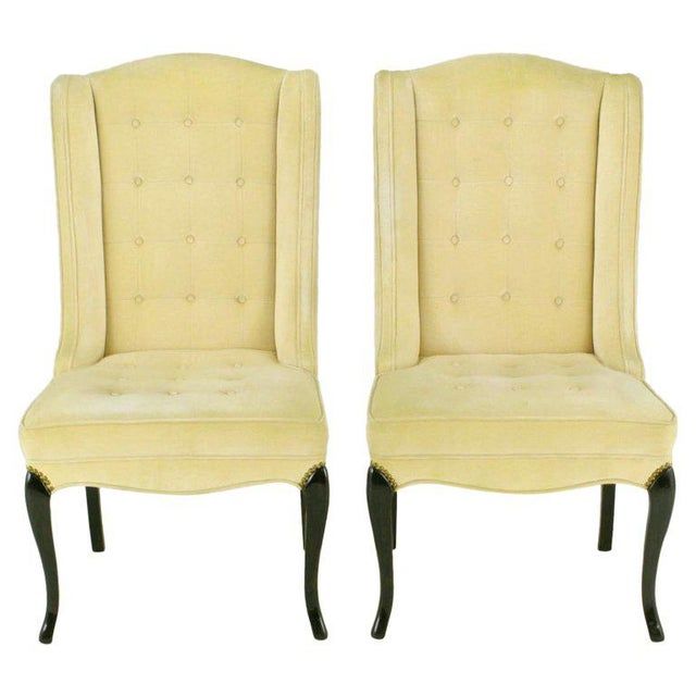 Pair 1940s Creamy Velvet Button-Tufted Slipper Chairs For Sale - Image 10 of 10