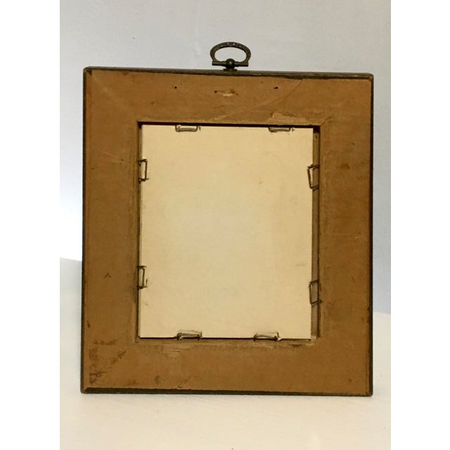 Metal Vintage Brass Ring Wood Picture Frame with Greek Key Border For Sale - Image 7 of 9