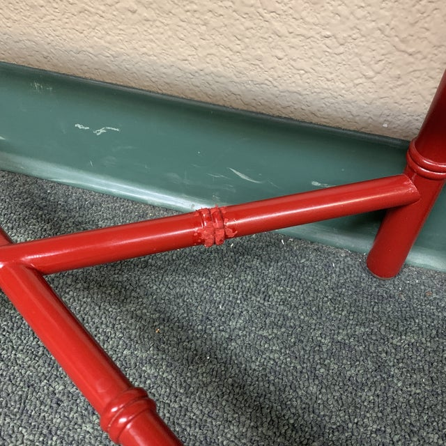 Paint Mid-20th Century Red Faux Bamboo Accent Tables- a Pair For Sale - Image 7 of 8