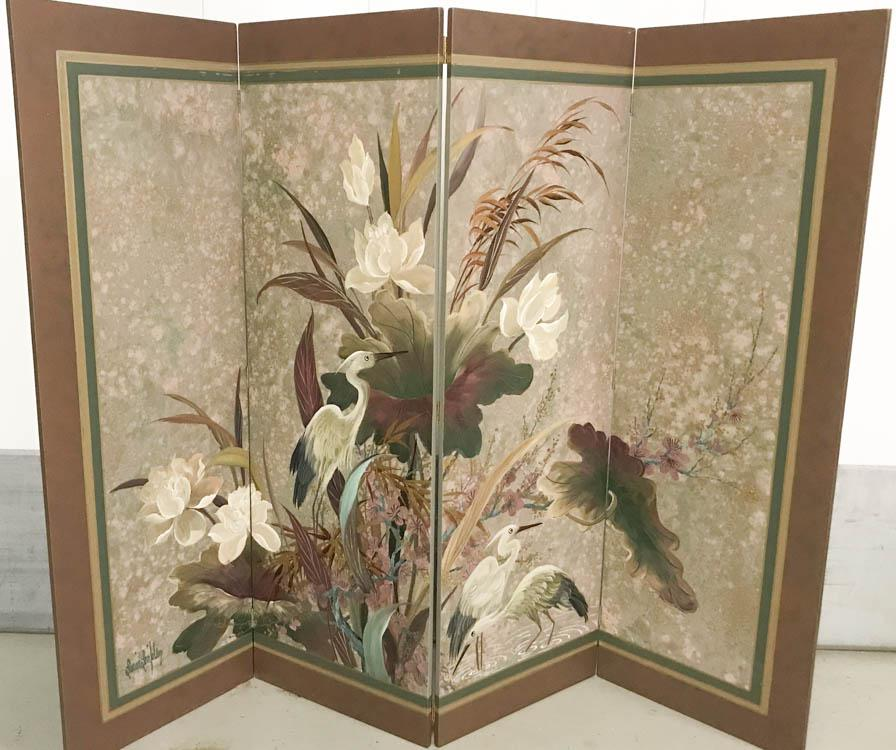 Vintage Hand Painted Asian Screen Signed Chairish