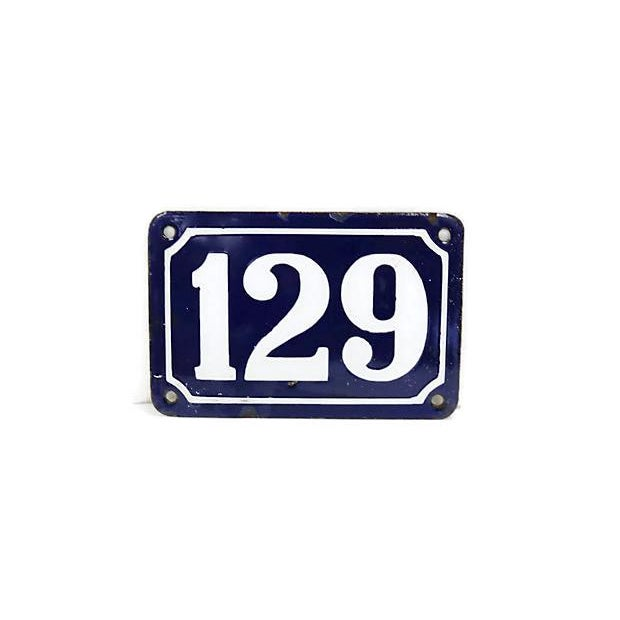 French Vintage Large French Metal Street Number #129 For Sale - Image 3 of 3